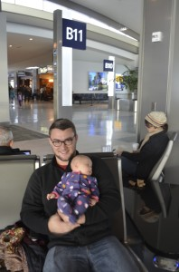 Daddy and Evey at airport