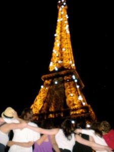 Eiffel at night blurry