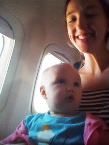 Evelyn flying with mama