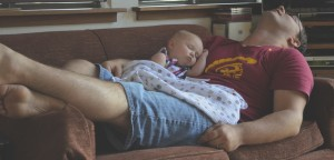 asleep with daddy