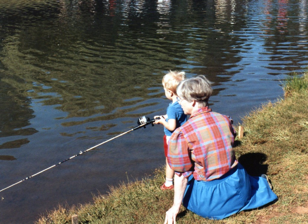 Owen fishing with Grandma