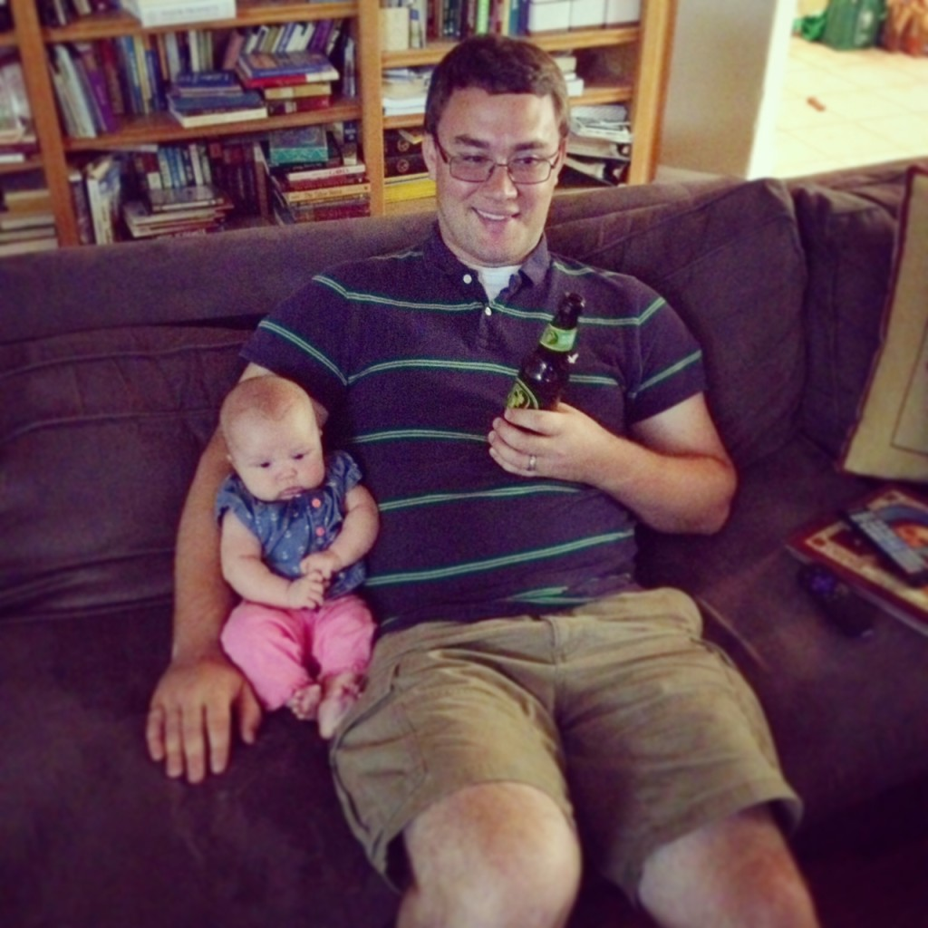 watching the game with dada
