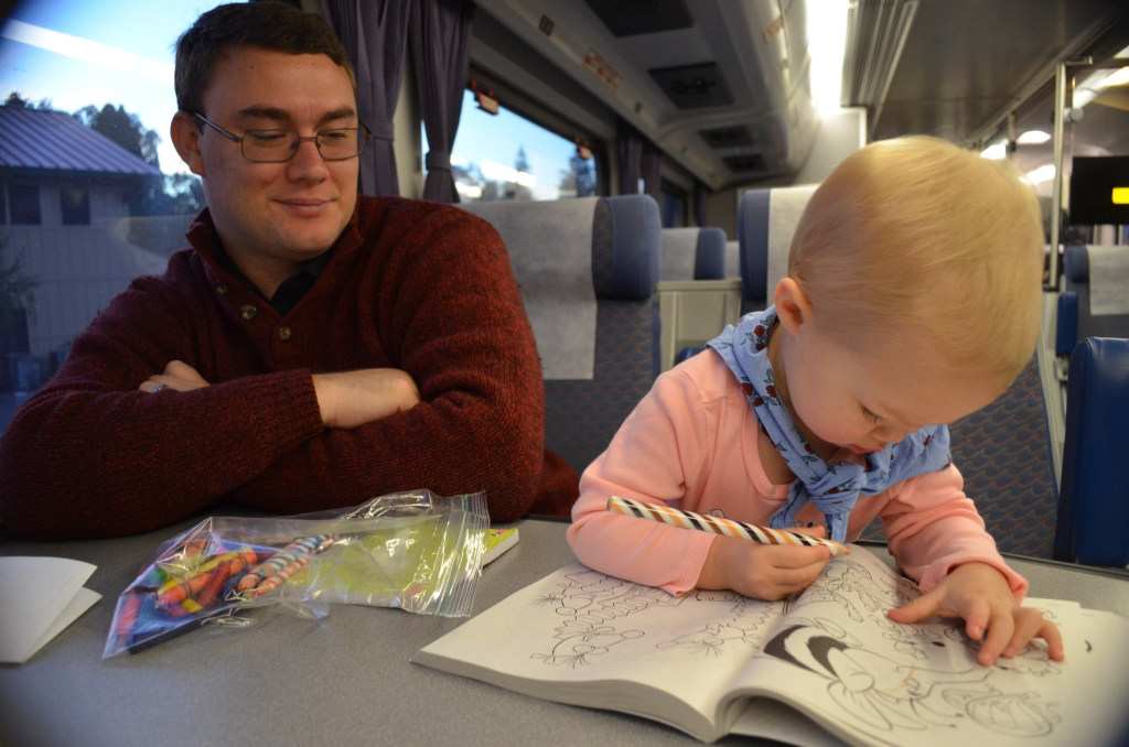 on train with daddy