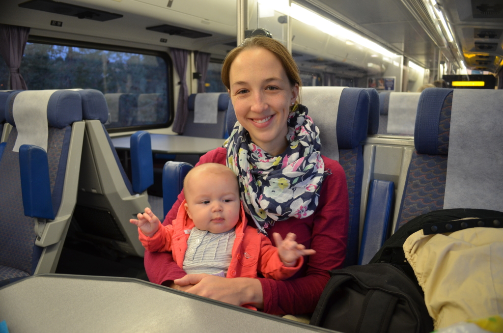 with mommy on train