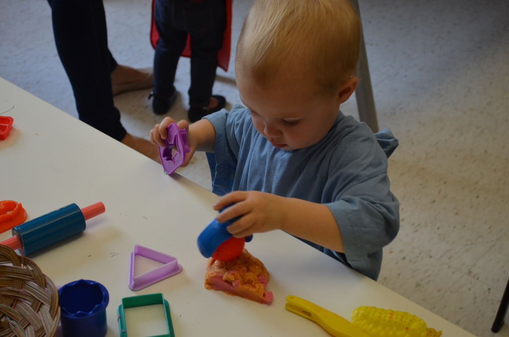 stamping playdough