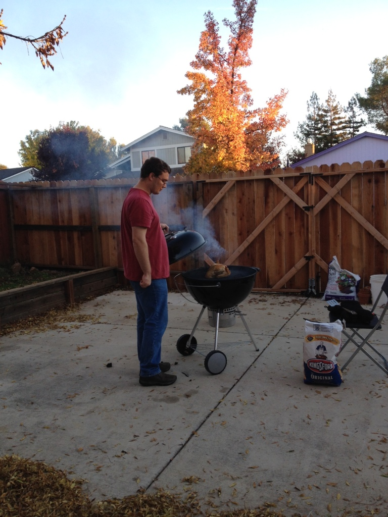 grilling the turkey 1