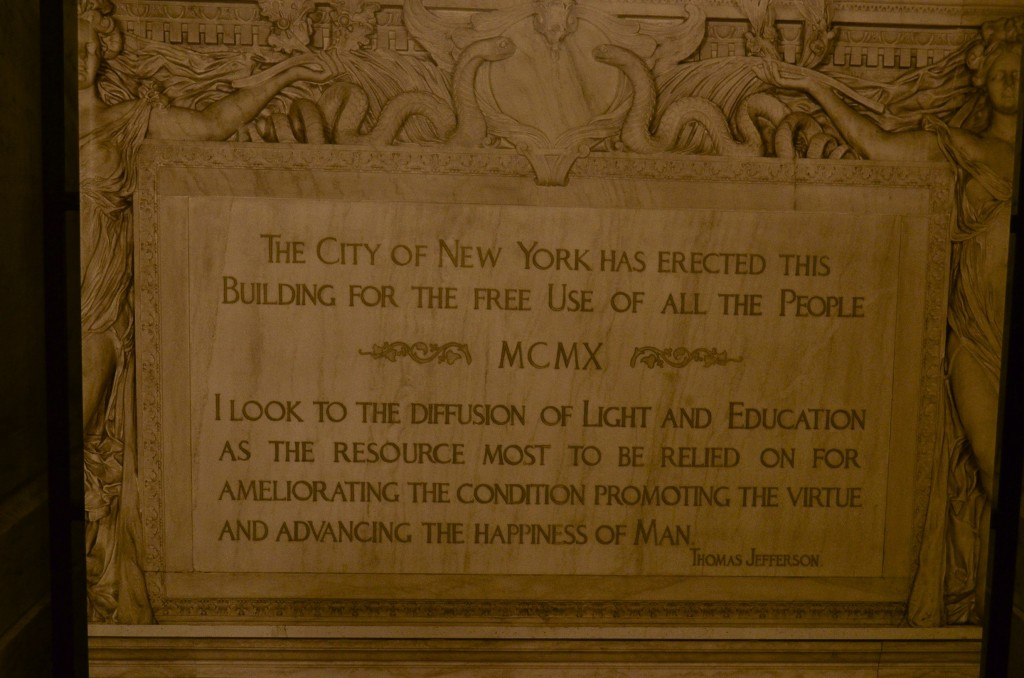 nyc library dedication