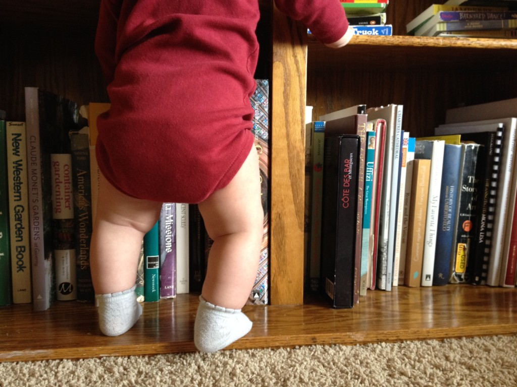 standing at the bookcase