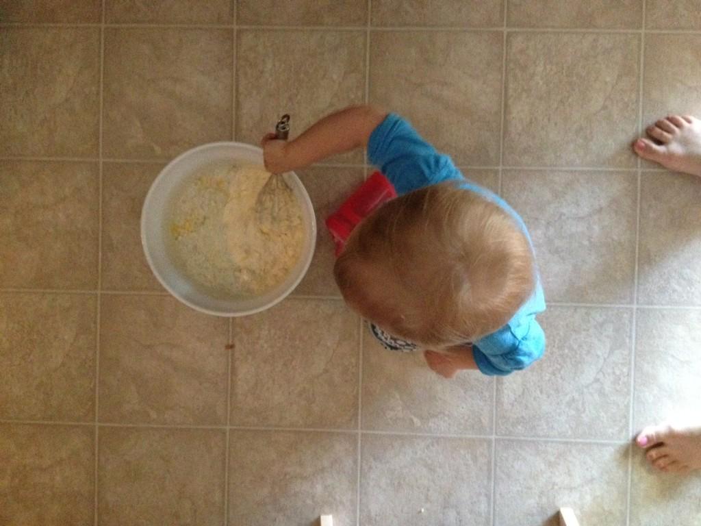mixing up waffles