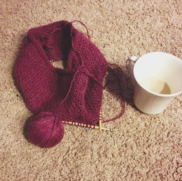 knitting and tea