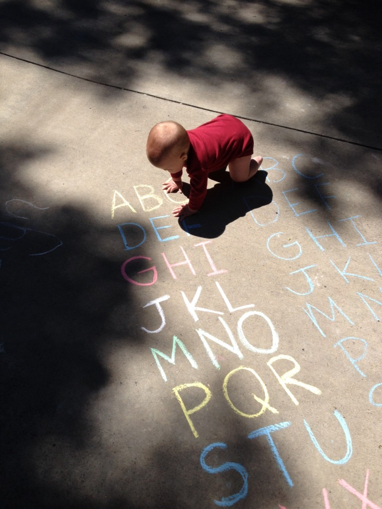 chalk painting alphabet
