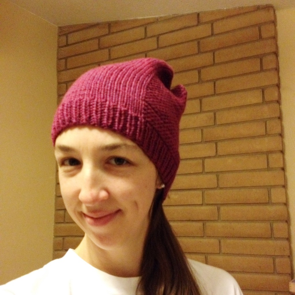raspberry barley knit hat