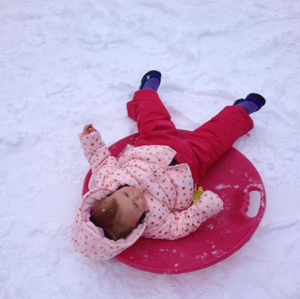 Lucie sledding - Dec 2015