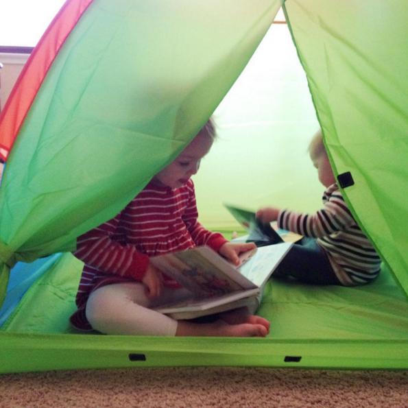 reading in tent - Dec 2015