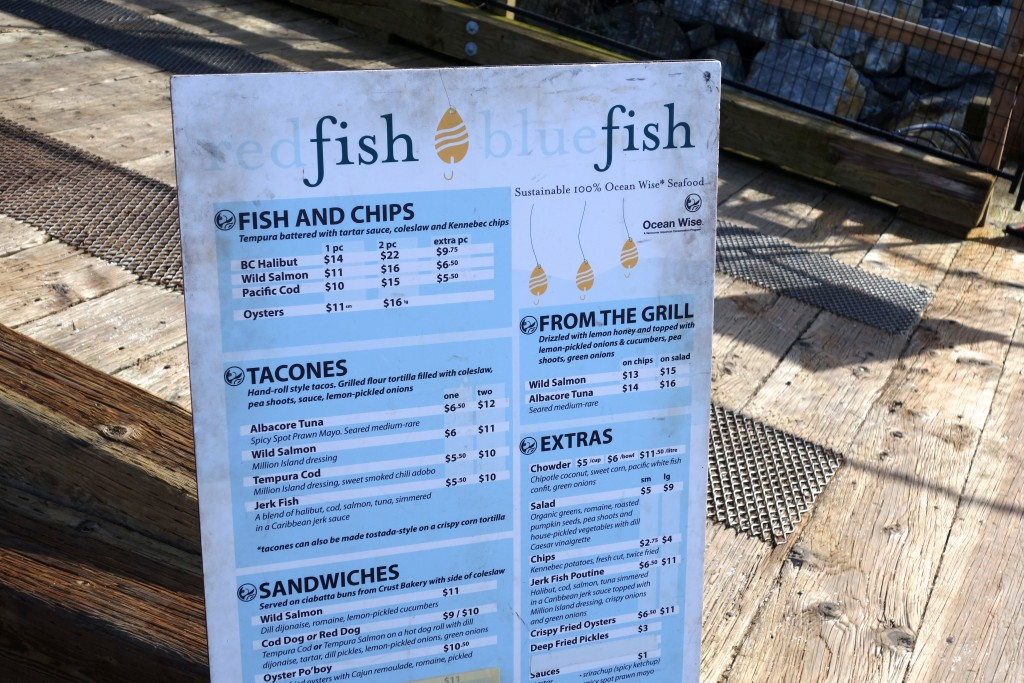 Red Fish, Blue Fish menu