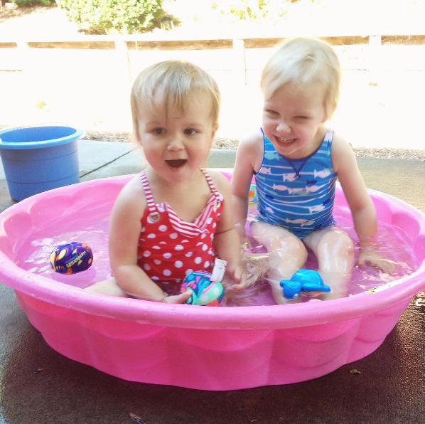 sisters in the pool