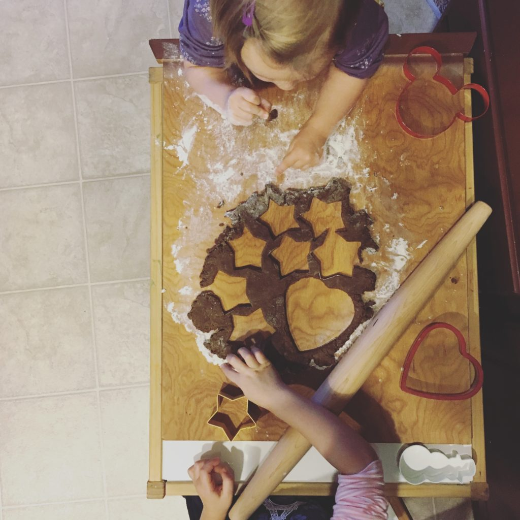cutting out gingerbread - Dec 2016